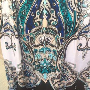bebe Dresses - Sz M Bebe Black Blue White Paisley Mini Dress